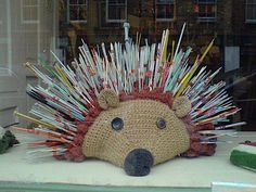 Hedgehog knitting needle holder I like the idea of this, but I'd lose every . : Hedgehog knitting needle holder I like the idea of this, but I'd lose every needle in it to the same cat who steals pins, hair ties, and writing implements Diy Tricot Crochet, Knit Or Crochet, Filet Crochet, Crochet Crafts, Yarn Crafts, Crochet Hooks, Knitting Needle Storage, Knitting Needles, Knitting Yarn
