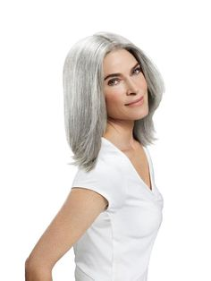 Model silver gray hair. I wish there was a good way of making this gradual change without shocking every one...ugh!