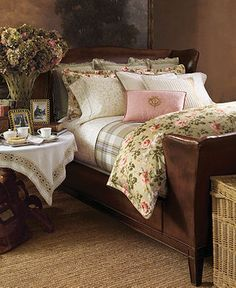 Pretty country style Bedroom with a gorgeous antique bed! Love everything about this room.