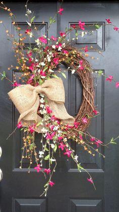 59 Fresh and Beautiful Spring Wreath Decor Ideas Wreath Crafts, Diy Wreath, Door Wreaths, Yarn Wreaths, Tulle Wreath, Floral Wreaths, Burlap Wreaths, Burlap Bows, Ribbon Wreaths