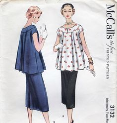 Vintage McCalls Maternity Pattern 3132 by AnnesVintagePatterns. This is so much more classy than those skin tight stretch dresses they wear today. Maternity Dress Pattern, Maternity Patterns, Maternity Wear, Maternity Dresses, Maternity Fashion, Vintage Dress Patterns, Vintage Dresses, Vintage Outfits, 1950s Fashion