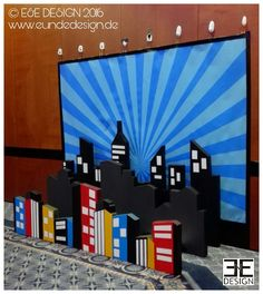 """""""SUPERHERO"""" photo backdrop, Halloween 2016 by E&E DESIGN GbR, 54292 Trier www.eundedesign.com www.facebook.com/eundedesign www.instagram.com/eundedesign #superhero #cityskyline #photobackdrop #styrofaom #eundedesign #superheld Theme Parties, Party Themes, Avenger Party, Rainbow Stuff, Photo Zone, Photo Backdrops, Trunk Or Treat, Halloween 2016, Candy Bars"""