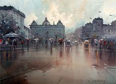 Rainy day in square ♥   © Dusan Djukaric, #Watercolour