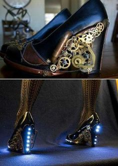 Steampunk TARDIS blue shoes. These are so awesome!!!!!