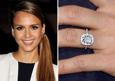Actress Jessica Alba was given a 5-carat Asscher-cut diamond and ...