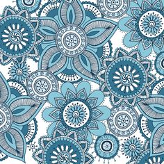 spoon_150_henna_blues fabric by lovefrombeth on Spoonflower - custom fabric