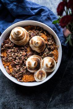 Lighter Baked Sweet Potato Casserole w/ Maple Toasted Marshmallow | Half Baked Harvest