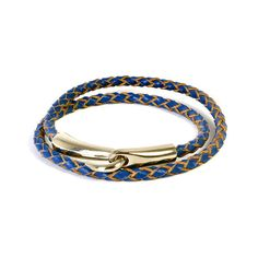 Blue Woven Leather Wrap Bracelet