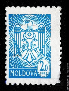 Coat of ars, postage stamp, Moldova, 1993 Moldova, Mail Art, Photo Library, Stock Pictures, Postage Stamps, Blue And White, Patterns, Coat, Image