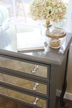 DIY Mirrored Dresser | DIY Mirrored night stand by gracie