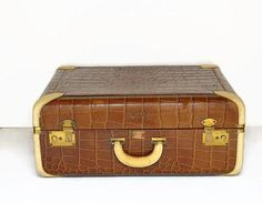 vintage suitcase brown faux alligator 1940s 1950s mid century luggage - http://oleantravel.com/vintage-suitcase-brown-faux-alligator-1940s-1950s-mid-century-luggage