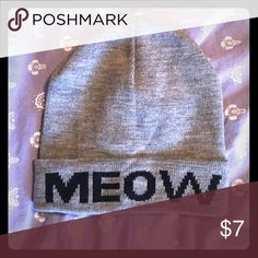 """MEOW"" Beanie This gray beanie is perfect for cat lovers! Doesn't really slouch on my head, more like a fitted cap. Rue 21 Accessories Hats"
