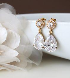 Gold wedding jewelry bridal jewelry gold crystal bridal earrings by DreamIslandJewellery