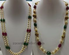 Emerald drops, ruby drops and small akoya pearls combination two layers short necklace.  Gold beads, south sea pearls ruby beads combinat...