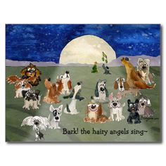 Cartoon Dogs Singing Funny Cute Christmas Postcard