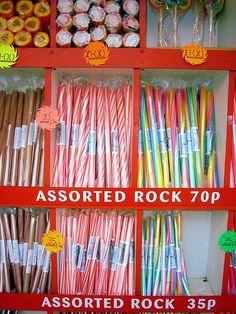 Seaside rock Win your dream city break with i-escape & Coggles British Beaches, British Seaside, British Summer, 1970s Childhood, Childhood Memories, Family Memories, Blackpool Rock, Stick Of Rock, British Holidays