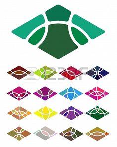 Design logo abstract diamond-shaped element  Crushing vector rectangular pattern  Colorful icons set  Stock Photo - 18682008