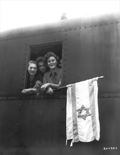 Former prisoners from Buchenwald concentration camp, from Poland, Hungary and Latvia, on a train bound for the Palestine, 5 June 1945