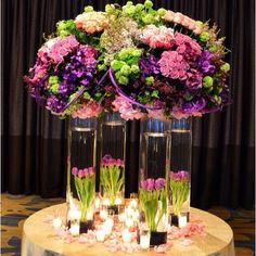 A stunning statement piece for a Bat Mitzvah at the @Bevvvvverly Wilshire (A Four Seasons Hotel) #eventsbyemptyvase #tulips #roses #Hydrangeas 16h 4 more comments