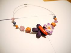 Orange and purple Necklace handmade and unique by CreationsBella, $16.00