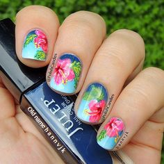 50 Gorgeous Summer Nail Designs You Need To Try - Flower Nail Designs, Nail Designs Spring, Toe Nail Designs, Floral Designs, Tropical Nail Designs, Tropical Flower Nails, Hibiscus Nail Art, Spring Nails, Summer Nails