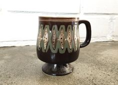 Vintage Studio Pottery Stoneware Pedestal Mug