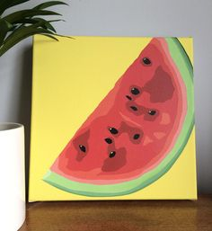 Watermelon Juicy Hand Painted Acrylic on Canvas Yellow Fruit