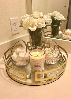 G Gallery Home Decor The best easy DIY small Bathroom decor ideas on a budget for apartments using a tray and canisters to organize Bathroom Counter Decor, Bathroom Countertops, Diy Bathroom Decor, Bath Decor, Bathroom Organization, Organization Ideas, Bathroom Storage, Bathroom Ideas, Storage Ideas