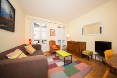 Nice colorful two-bedroom apartment in Paris for rent on Rue Monge in the 5th district of the city. The apartment is very attractive and cozy, it has a wonderful furniture and quality home appliances.