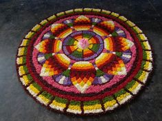 Rangoli Designs Flower, Flower Rangoli, Onam Pookalam Design, Rangoli Colours, Flower Decorations, Nativity, Floral Design, Flowers, Walkways
