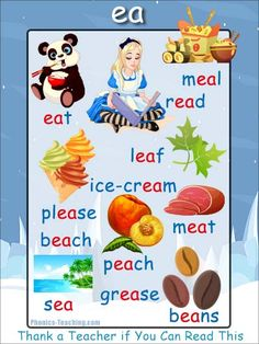 ea sound Phonics Poster - [FREE & PRINTABLE] - For Auditory Discrimination, Exploring Letter Sounds, Literacy Groups or as a Phonics Word Wall Poster. Phonics For Kids, Phonics Reading, Teaching Phonics, Teaching Reading, Phonics Chart, Phonics Flashcards, Phonics Worksheets, English Phonics, English Grammar Worksheets