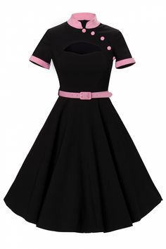 Bunny - Bunny - 50s Poesy swing dress keyhole black with pink