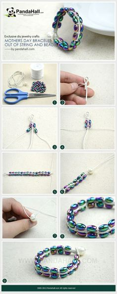 Via learning today's post about diy jewelry crafts, you are able to create an exclusive mothers day bracelet out of nylon thread, leather cord and certain number of beads. It is safety and easy to practice among adults and children.