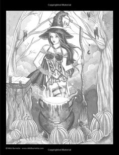 Spellbinding Images: A Grayscale Fantasy Coloring Book: Advanced Edition (Volume… Witch Coloring Pages, Emoji Coloring Pages, Detailed Coloring Pages, Adult Coloring Book Pages, Disney Coloring Pages, Coloring Pages To Print, Coloring Books, Kids Coloring, Beautiful Fantasy Art