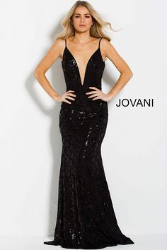 Floor length form fitting black sequin prom dress with sweeping train  features sleeveless bodice with plunging d18d4e447