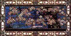 """John La Farge, """"Cherry Blossoms against Spring Freshet,"""" Stained Glass, 1882-1883."""