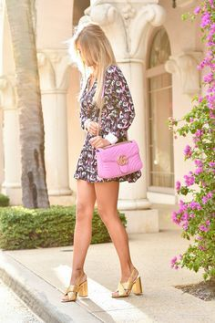 pink Gucci Marmont bag with Forever 21 Dress and Mango Gucci Dupe Gold mules on Kier Mellour on Worth Ave, Palm Bech