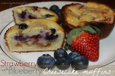 Strawberry & Blueberry Cheesecake Muffins