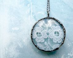 Vintage White Lace Necklace Sterling Silver by RenataandJonathan, $95.00 #jewelry #bridal