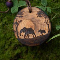 Wood Burning Crafts, Wood Burning Patterns, Wood Burning Art, Wood Crafts, Diy Crafts, Elephant Jewelry, Elephant Necklace, Wooden Elephant, Elephant Gifts