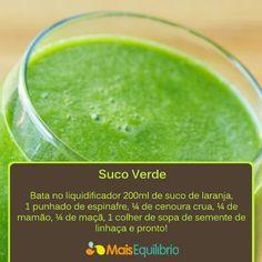 Suco verde: um copo antes do café da manhã e muitos benefícios para a sua saúde! http://maisequilibrio.terra.com.br/suco-verde-2-1-1-752.html