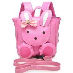 New pink rabbit children's school bags baby girl preschool backpack kindergarten shoulder bag mochila infantis for age 1-3