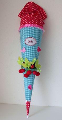 """Schultüten - Schultüte, Zuckertüte, """"Kirsche"""", Handarbeit - ein Designerstück von Anastasiyas-Stoffmaerchen bei DaWanda"""