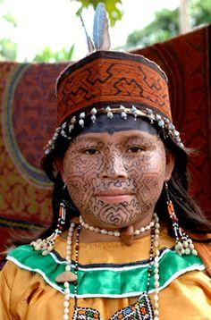 Peru | Shipibo girl.  The Shipibo-Conibo are an indigenous people along the Ucayali River in the Amazon rainforest. | © Gregg Woodward