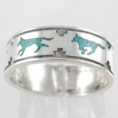 Southwestern Native American Style Running Wolf Band Ring in Sterling Silver with Turquoise Chip Inlay for Men or Women, size 6, #11108, (ring, wolf)