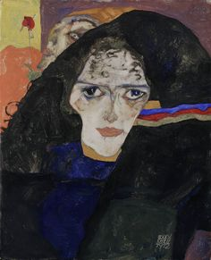 "Mourning Woman. 1912. Oil on wood. 16 3/4 x 13 3/8"" by Egon Schiele"