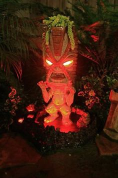 VOLCANO WATER FOUNTAIN FLOWER POT TIKI STATUE DECOR ART