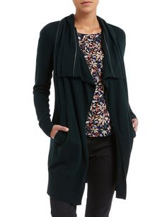 Layer up in this deep green longline cardigan. Coming to mid thigh, the relaxed fit drape style visually slims and lengthens the silhouette when worn with lighter tones underneath. It features a statement open zip collar, with handy front pockets. Longline Cardigan, Drape Cardigan, Womens Clearance, Long A Line, Lighter, Thigh, Lace Trim, Knitwear, Tricot