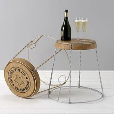 How fun is this Champagne Cork Wire Cage Side Table