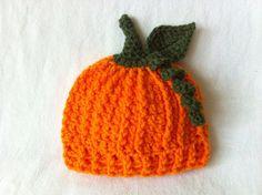 Baby Fall Harvest Pumpkin Hat- Preemie, Newborn and 3-6 Month- Autumn Infant Photo Prop- Crochet Baby Halloween Punkin Costume Beanie Cap